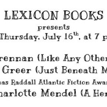 Reading at Lexicon Books July 16, 7 p.m.